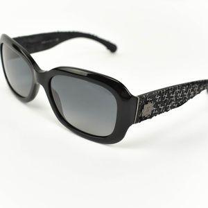 CHANEL: Black, Tweed & CC Polarized Sunglasses dm